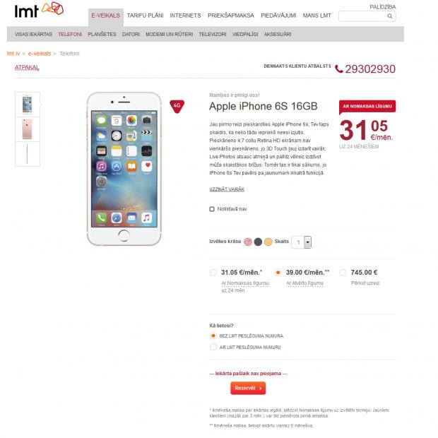 LMT Atvērtais piedāvājums Apple Iphone 6s 16GB modelim 2015.gada 14. oktobrī